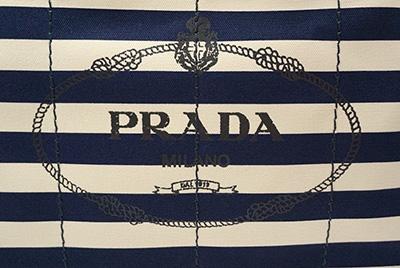 プラダ カナパ ボーダー トート Mサイズ ネイビー ホワイト トートバッグ