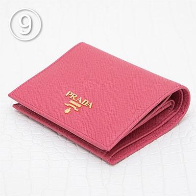 プラダ サフィアーノ 財布 ピオニーピンク ミニ財布 二つ折り コンパクト