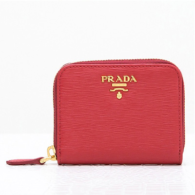 プラダ コインケース ラウンドファスナー カードポケットつき レッド 赤