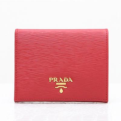 プラダ 財布 赤 ミニ財布 二つ折り レッド