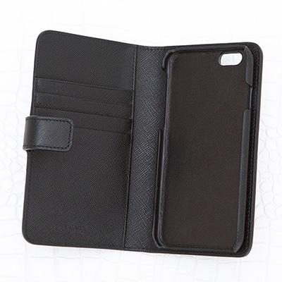 プラダ サフィアーノ iPhoneケース 手帳型 ブラック