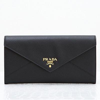 プラダ 財布 サフィアーノ ブラック 黒 長財布 エンベロップ 封筒型 パスケース