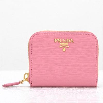 プラダ コインケース 小銭入れ ミニ財布 ラウンドファスナー ピンク