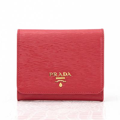プラダ 財布 赤 三つ折り コンパクト レッド