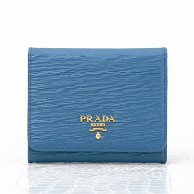 プラダ 財布 ブルー 三つ折り コンパクト