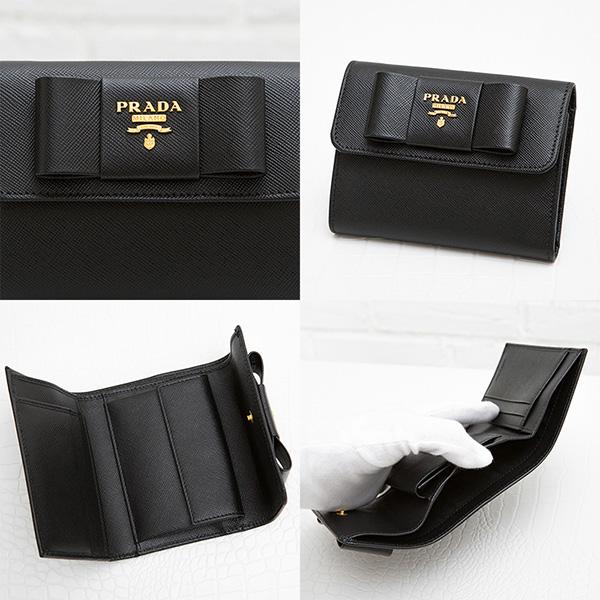 プラダ サフィアーノ 財布 リボンつき 三つ折り財布 フィオッコ ブラック 黒