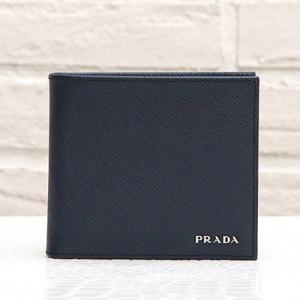 プラダ 財布 サフィアーノ メンズ ネイビー 二つ折り バイカラー