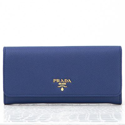 プラダ 財布 ブルー 長財布 スナップボタン カードホルダー パスケース