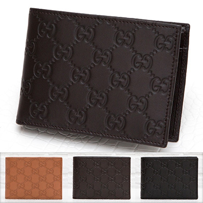 グッチ メンズ 財布 グッチッシマ 二つ折り ダークブラウン ブラック
