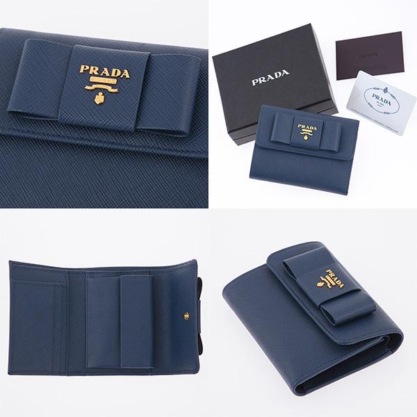 プラダ 財布 サフィアーノ リボン付き 三つ折り財布 ネイビー ダークブルー
