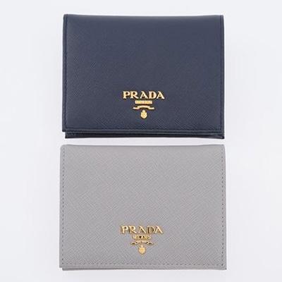 プラダ サフィアーノ 財布 二つ折り ミニ財布 ネイビー ブルー グレー