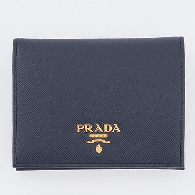 プラダ 財布 サフィアーノ ミニ財布 二つ折り ネイビーブルー