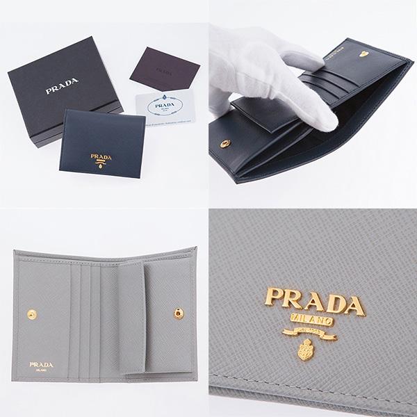 プラダ 財布 サフィアーノ ミニ財布 二つ折り ネイビーブルー グレー