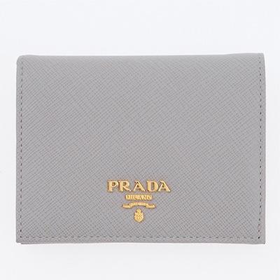 プラダ 財布 サフィアーノ ミニ財布 二つ折り グレー