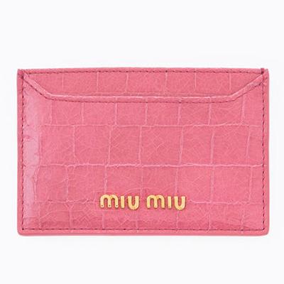 ミュウミュウ カードケース クロコ調 ピンク