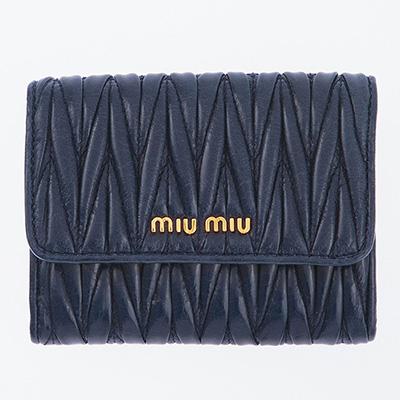 ミュウミュウ 財布 マトラッセ 二つ折り財布 ネイビー ダークブルー