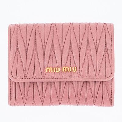 ミュウミュウ 財布 マトラッセ 二つ折り財布 ピンク