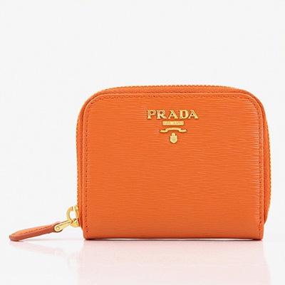プラダ コインケース 小銭入れ ミニ財布 ラウンドファスナー オレンジ