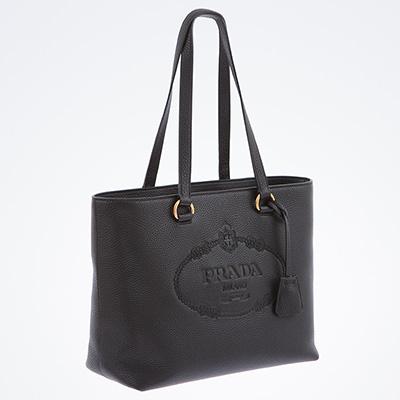 プラダ レザーバッグ トートバッグ ロゴ ブラック 黒