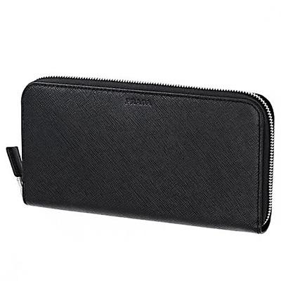 プラダ 財布 サフィアーノ 長財布 メンズ ラウンドファスナー ブラック 黒