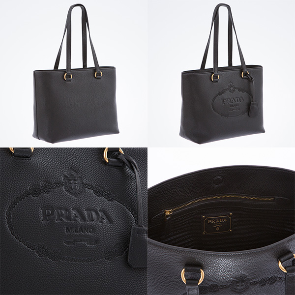 プラダ レザーバッグ トートバッグ 黒 ブラック 肩掛けOK ロゴ