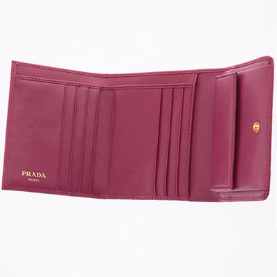 プラダ 財布 ピンク系 三つ折り財布 コンパクト 折りたたみ イビスコピンク