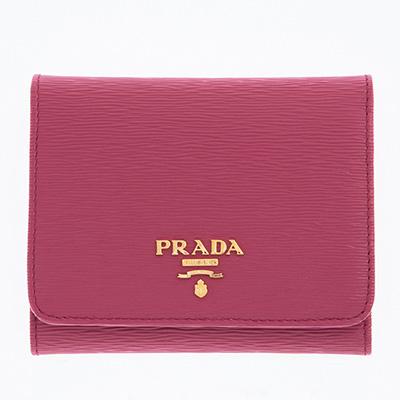 プラダ 財布 ピンク コンパクト 三つ折り財布 イビスコピンク