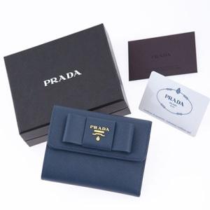 プラダ 財布 サフィアーノ リボン付き コーンフラワーブルー