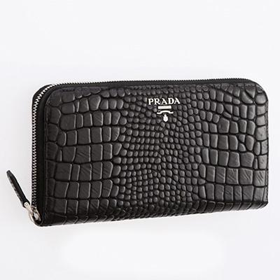 プラダ 財布 ラウンド クロコダイル調レザー 長財布 ブラック 黒