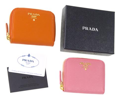 プラダ コインケース ラウンドファスナー カードも入る ピンク オレンジ