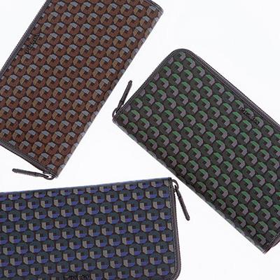 プラダ 財布 ナイロン サフィアーノ コーンフラウワーブルー グリーン系 ブラウン系 オクタゴンモチーフ