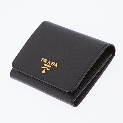 プラダ 財布 サフィアーノ 三つ折り ブラック 黒