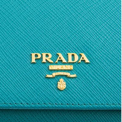 プラダ 財布 サフィアーノ 三つ折り ターコイズ