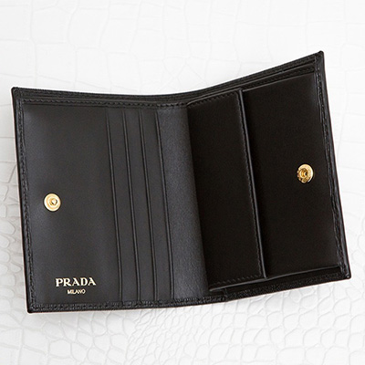 プラダ 財布 ブラック 黒 ミニ財布 二つ折り