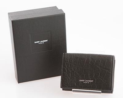 サンローラン 財布 メンズ ブラック 黒 ミニ財布 クロコダイル調