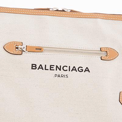 バレンシアガ クラッチバッグ キャンバス レザー ベージュ ナチュラル