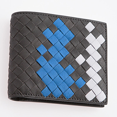 ボッテガヴェネタ 財布 メンズ 二つ折り財布 グレー ブルー ホワイト