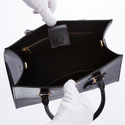 プラダ サフィアーノ ハンドバッグ 2WAY ブラック 黒 レザーバッグ