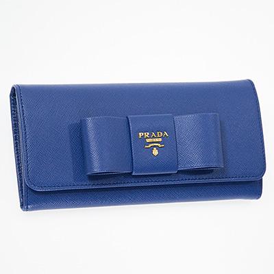 プラダ 財布 リボン ブルー 長財布 パスケースつき