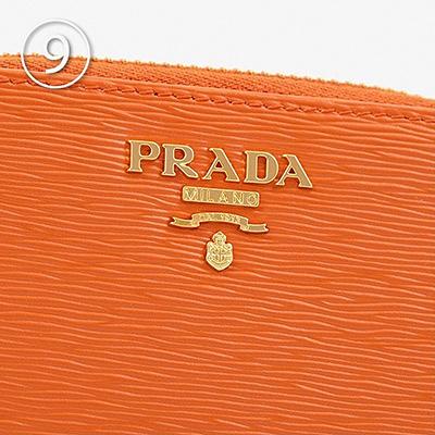 プラダ コインケース ラウンドファスナー オレンジ