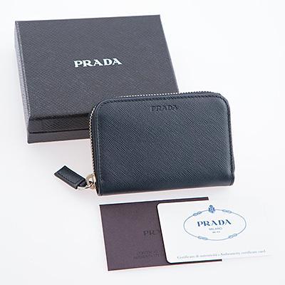 プラダ カードケース サフィアーノ ネイビー メンズ ラウンドジップ