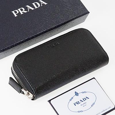 プラダ キーケース サフィアーノ ブラック 黒 メンズ ラウンドファスナー
