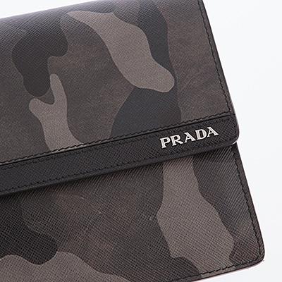 プラダ クラッチバッグ セカンドバッグ メンズ サフィアーノ カモフラ 迷彩柄 グレー
