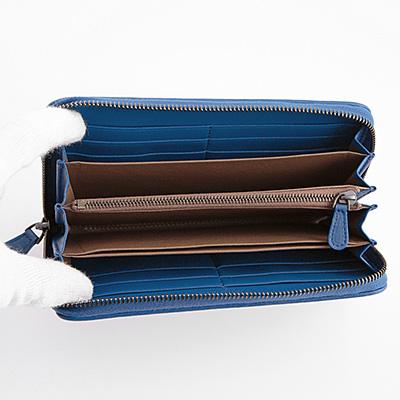 ボッテガヴェネタ 財布 長財布 ブルー イントレチャート ラウンド