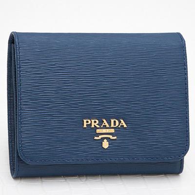 プラダ 財布 コンパクト 三つ折り コーンフラワーブルー