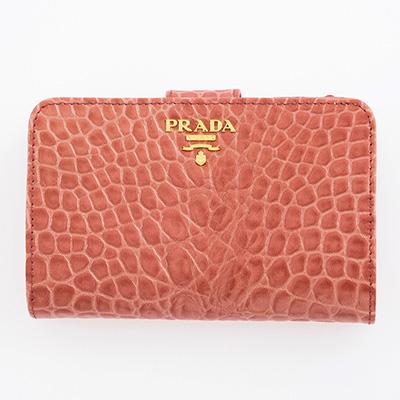 プラダ 財布 アンティコ クロコダイル調レザー 二つ折り
