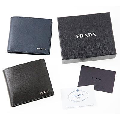 プラダ 財布 メンズ サフィアーノ バイカラー ブラック ネイビー