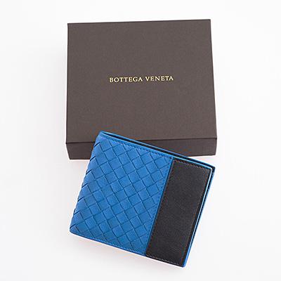 ボッテガヴェネタ 財布 メンズ イントレチャート 二つ折り財布 ブルー