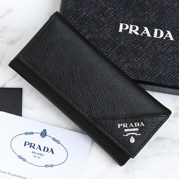 プラダ メンズ キーケース サフィアーノ ブラック 黒 ロングタイプ