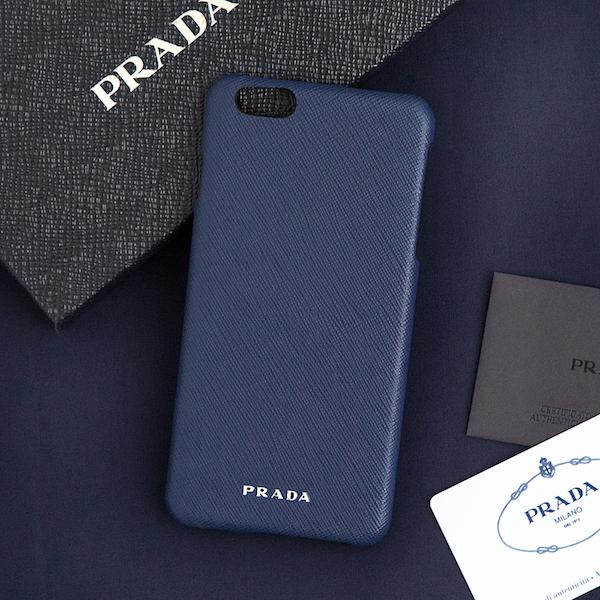 プラダ サフィアーノ iPhone6Plus/6sPlusケース コーンフラワーブルー